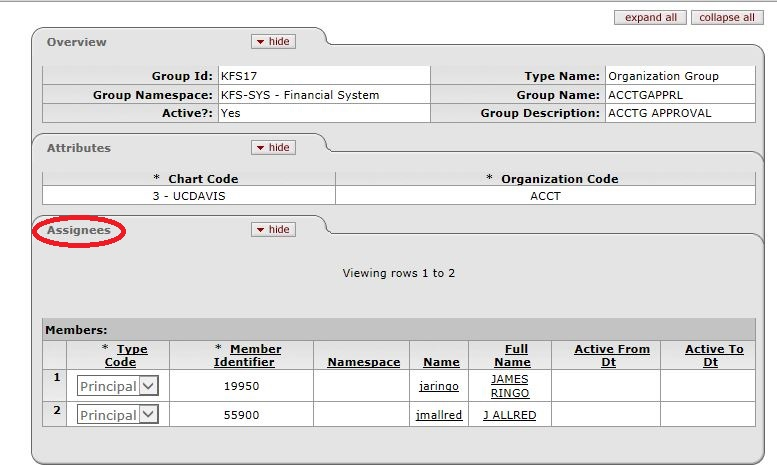 screen capture of a group log in kfs