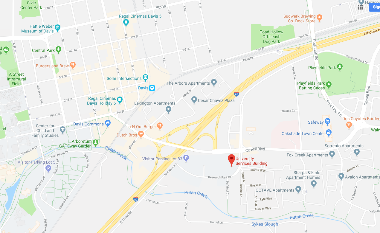 google map showing location of uc davis financial services