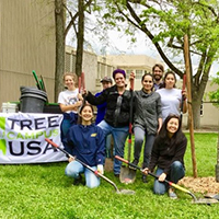 uc davis students involved in tree campus usa event