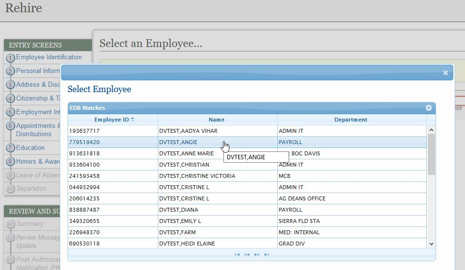 Select Employee from List