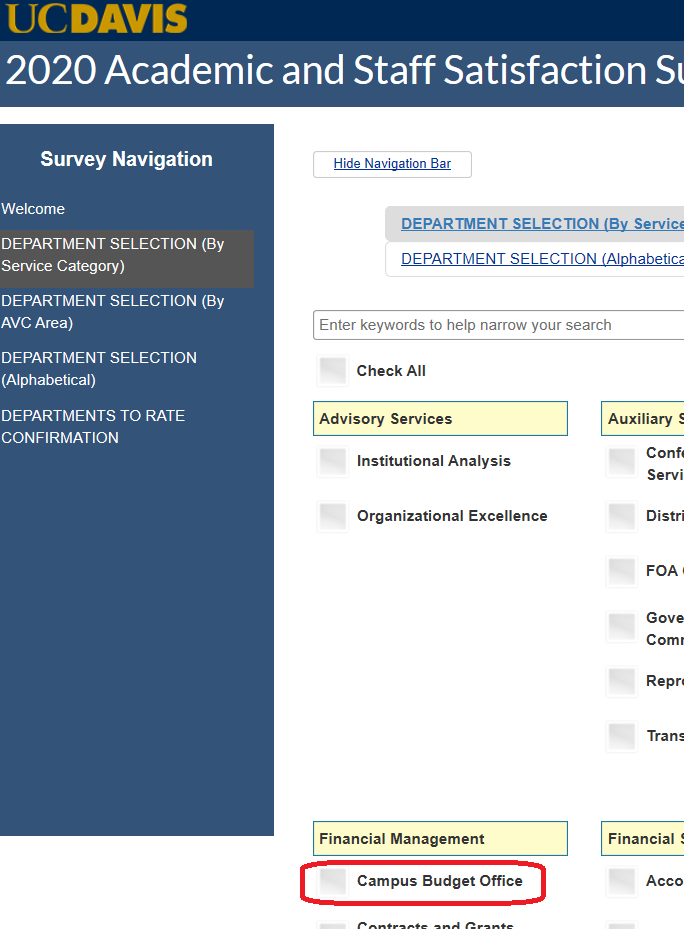 screengrab of satisfaction survey page