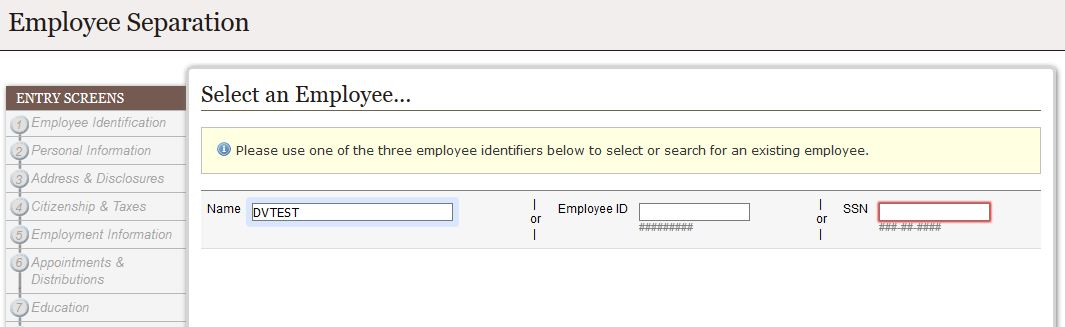 Select Employee Screen