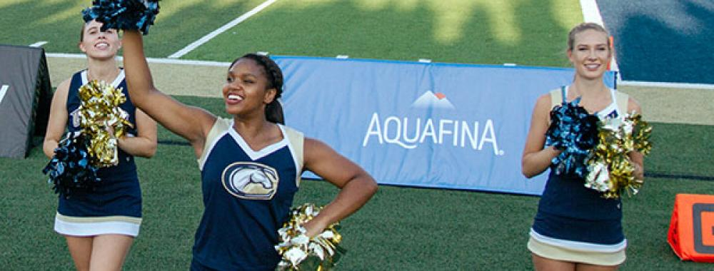 three uc davis cheeleaders