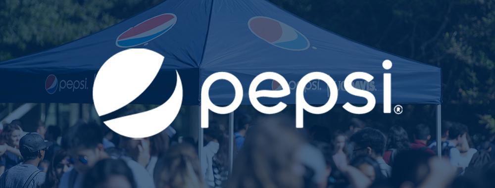 pepsi tent at uc davis student event with pepsi logo overlay
