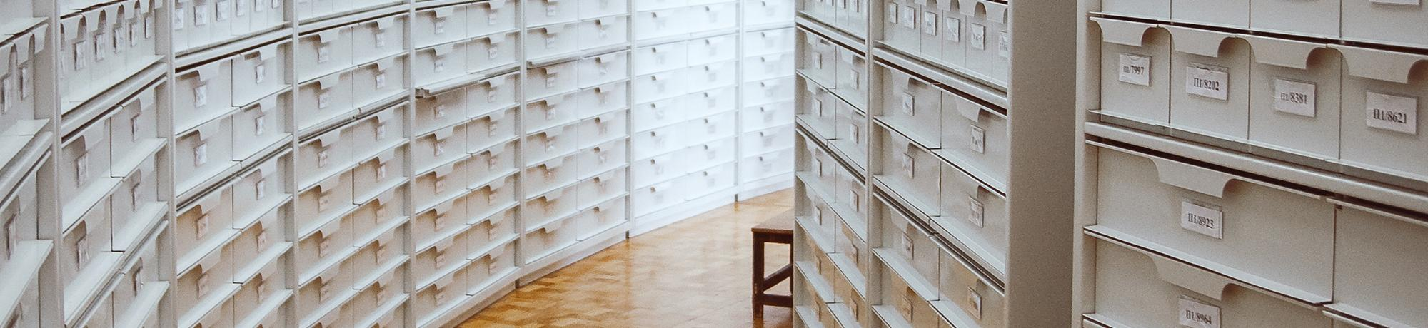 corridor of filing cabinets
